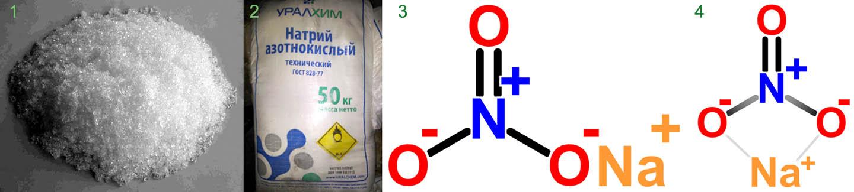 Внешний вид и химическая формула натриевой селитры