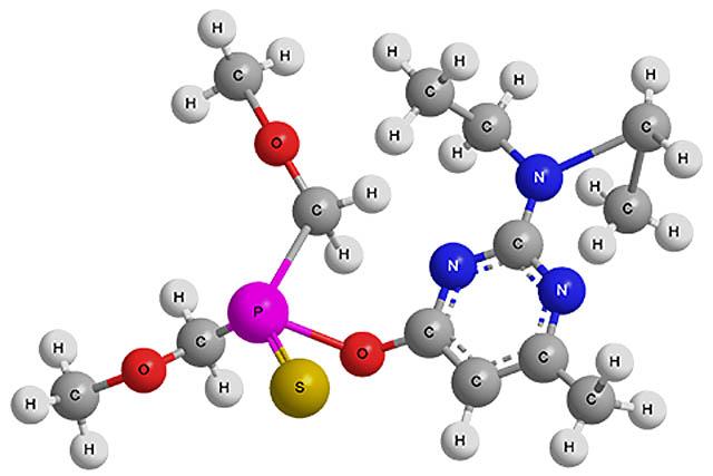 Структурная формула пиримифос метила - действующего вещества препарата Актеллик.