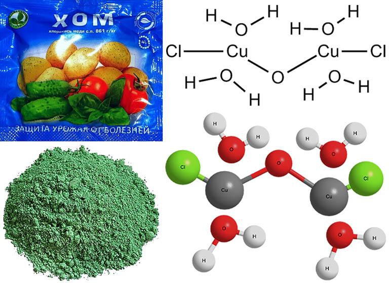 Вид, химическая и структурная формулы кристаллогидрата хлорокиси меди ХОМ