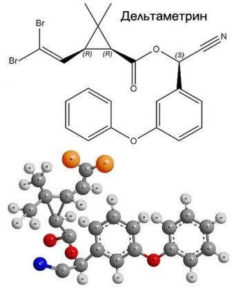 Структурная химическая формула дельтаметрина и ее пространственная модель