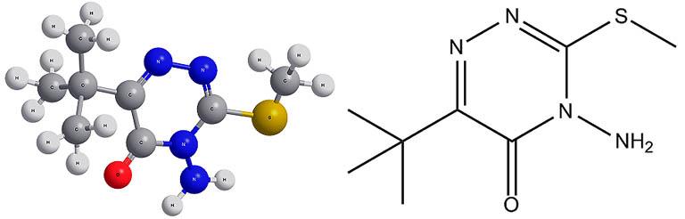 Химическая формула действующего вещества гербицида Зенкор - метрибузина