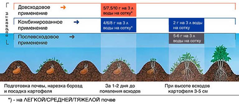 Схемы применения гербицида Зенкор на картофеле