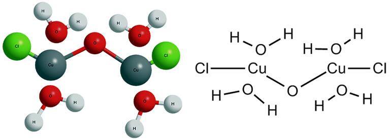 Химическая формула хлорокиси меди и ее пространственная модель.