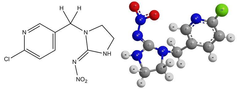 Химическая формула имидаклоприда и ее пространственная модель