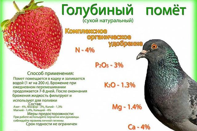 Химический состав готового к применению на удобрение голубиного помета