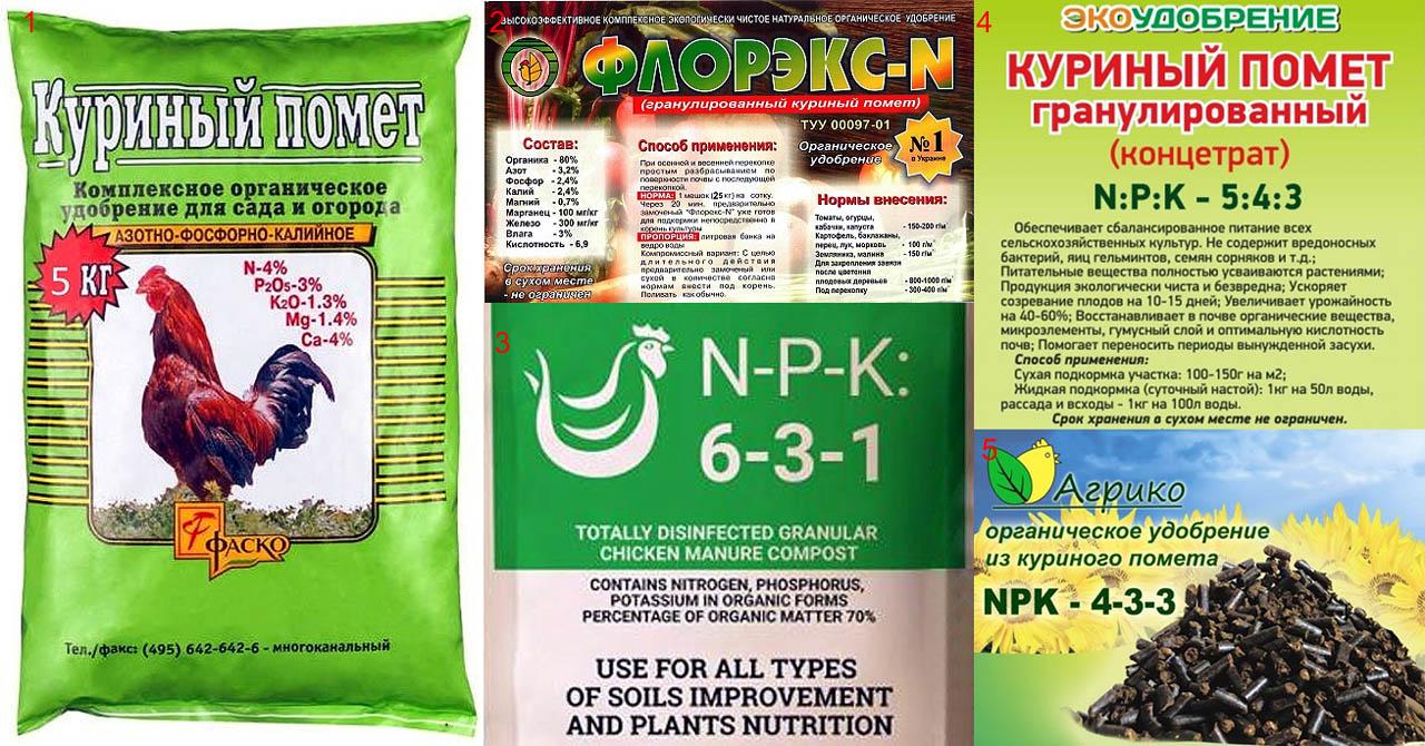 Химический состав и соотношение NPK гранулированного куриного помета.