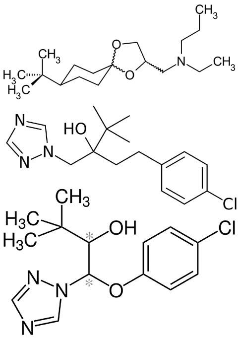 Структурные формулы веществ, составляющих фунгицид Фалькон