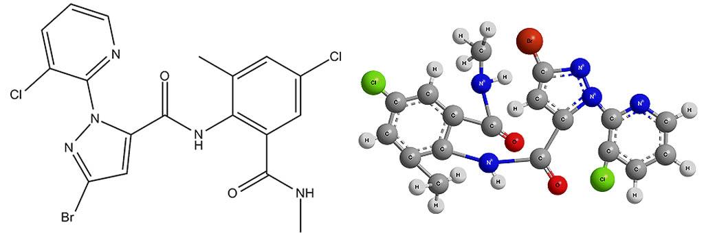 Химическая формула хлорантранилипрола - действующего вещества инсектицида Кораген