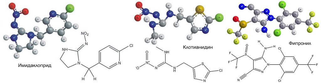 Химические формулы компонент инсектицида Табу
