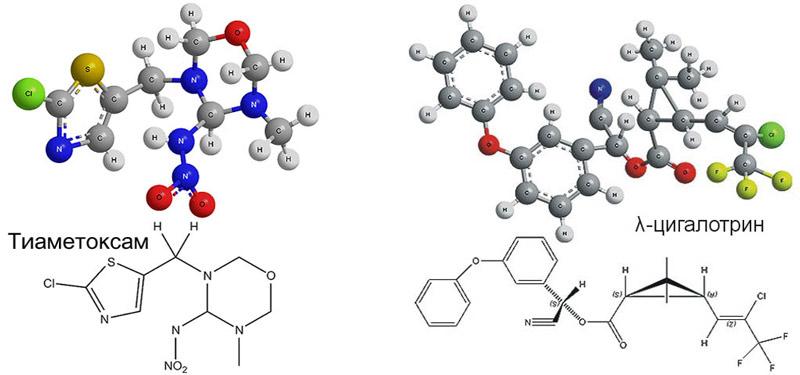 Химические формулы действующих веществ инсектицида Эфория