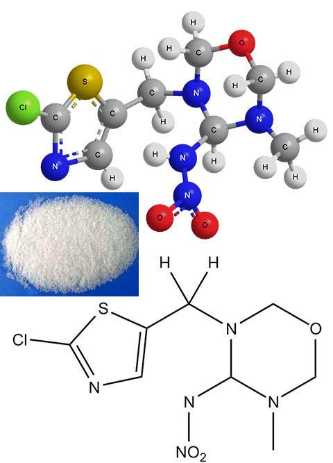 Структурная химическая формула, ее пространственная модель и внешний вид тиаметоксама