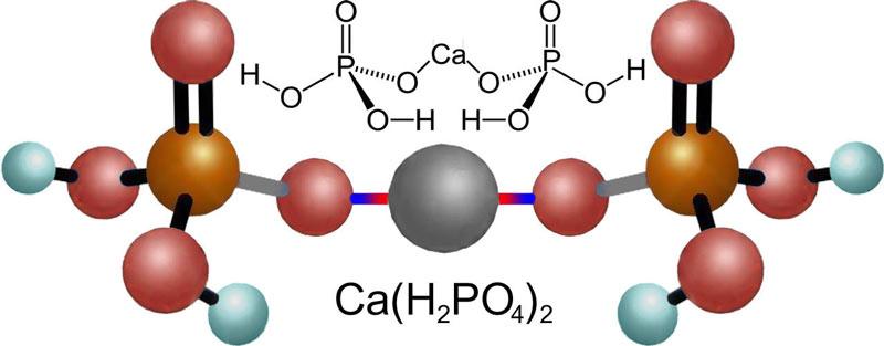 Химическая формула и модель молекулы двойного суперфосфата